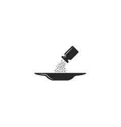 salt dripping from the salt shaker into the plate vector image