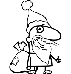 santa with sack coloring page vector image