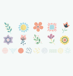 Scandinavian motif herbs and flowers set simple vector