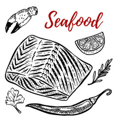 seafood salmon meat lemon spices design elements vector image