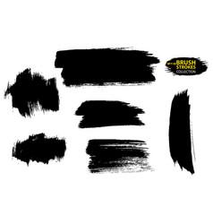 set brush strokes set black paint vector image