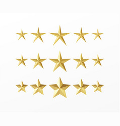 set golden realistic stars with different rays vector image