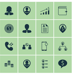 Set of 16 management icons includes business vector