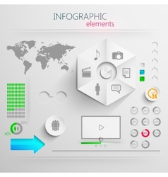set of abstract 3d paper infographic elements for vector image