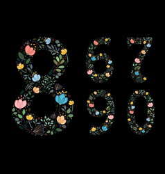set of floral night numerals painting effect vector image