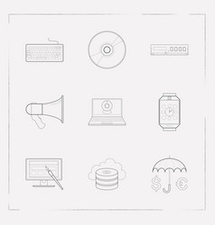 set of technology icons line style symbols with vector image