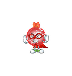 shiny red christmas ball with character super hero vector image
