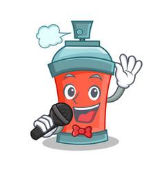 Singing aerosol spray can character cartoon vector