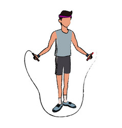 sport man jump rope fitness active lifestyle line vector image