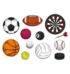 Sporting balls dartboard and hockey puck sketches vector image