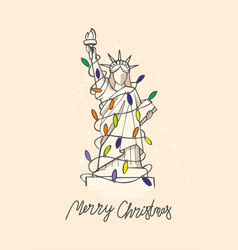 Statue of liberty with christmas lights vector