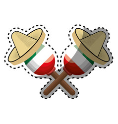 Sticker pair mexican maraca instrument with vector