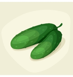 Stylized of fresh ripe cucumbers vector image