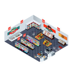 Supermarket grocery store in isometric vector