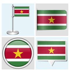 Suriname flag - sticker button label flagstaff vector