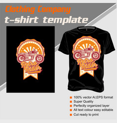 t-shirt template fully editable with vintage rider vector image