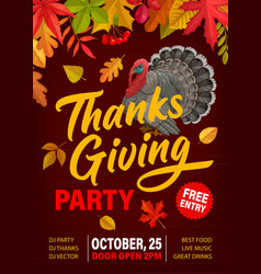 thanks giving party flyer with turkey and leaves vector image