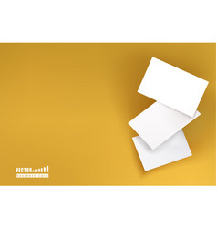 three white business cards on a yellow background vector image