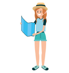 tourist woman with map folded vector image