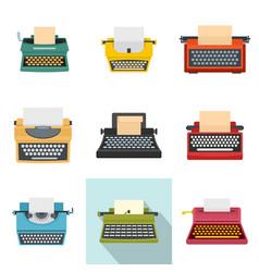 Typewriter machine keys old icons set flat style vector