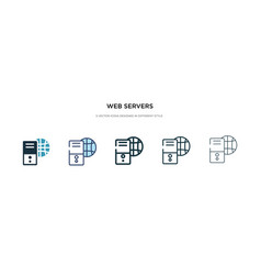 Web servers icon in different style two colored vector