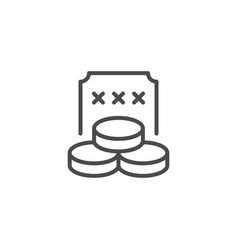 winning ticket line outline icon vector image