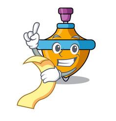 with menu spinning top mascot cartoon vector image