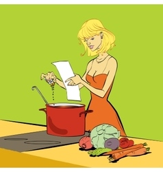 Woman kitchen recipe soup vegetarian cooking vector image