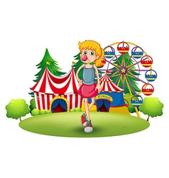 A tall young girl at the carnival vector image vector image