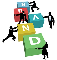 Business people build company brand plan vector image vector image