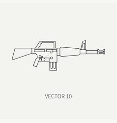line flat military icon - machine gun army vector image