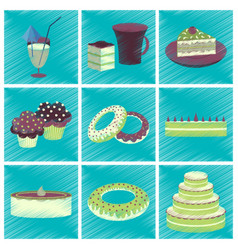 assembly flat shading style icons desserts for vector image