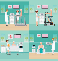 ecg test or exercise stress test for heart disease vector image vector image