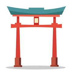 japanese red gate traditional oriental landmark vector image