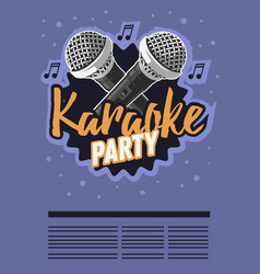 karaoke party music poster design with microphones vector image