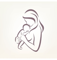 mom and baby stylized symbol outlined sketch vector image vector image