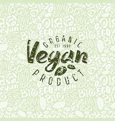 Raw vegan seamless pattern and emblem vector image