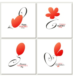 Stylish calligraphic Valentines day greeting cards vector image