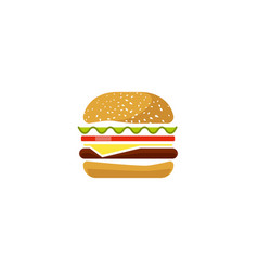 burger icon isolated flat cartoon sandwich vector image