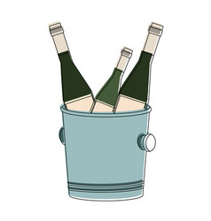 champagne bottles on ice bucket vector image
