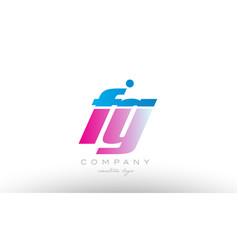 fg f g alphabet letter combination pink blue bold vector image