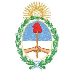 isolated hand drawn emblem of argentina - yellow vector image