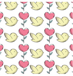 Natural dove and heart plant with leaves vector