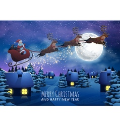 Santa Claus Flying on a Sleigh with Deer Christmas vector image