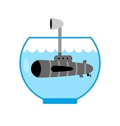 Submarine in aquarium periscope above water vector