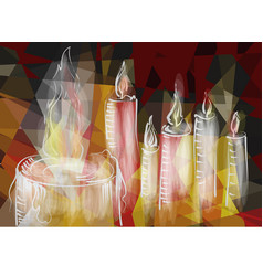 abstract burning candles vector image vector image
