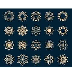 Abstract lotus geometric symbols vector image vector image