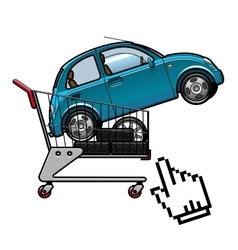 Car and tires in a shopping cart vector image vector image