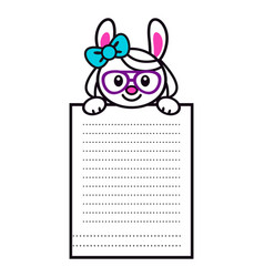 cute cartoon bunny girl with big paper page vector image