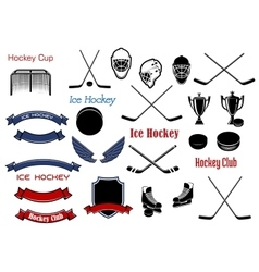 Ice hockey and heraldic symbols or items vector